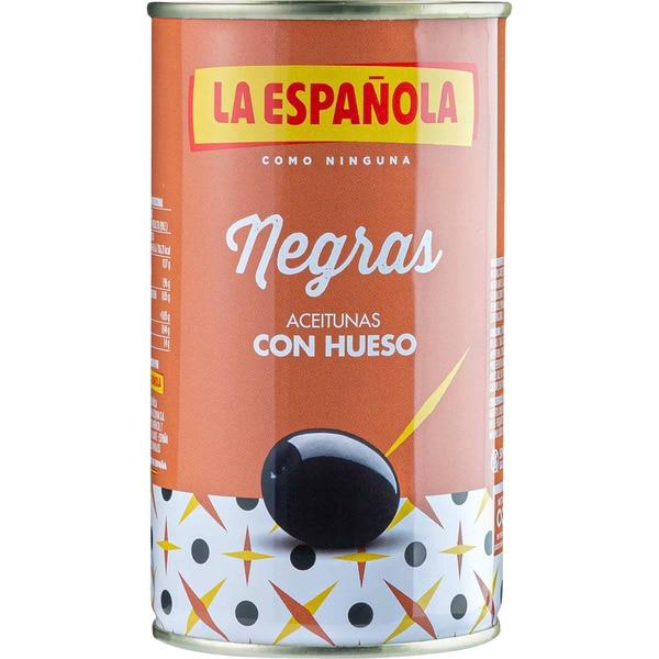 ACEITUNA NEGRA C/HUESO 185GR ESPANOLA